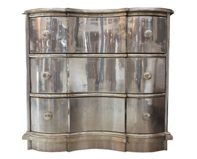 Curved Chest of Drawers White Metal