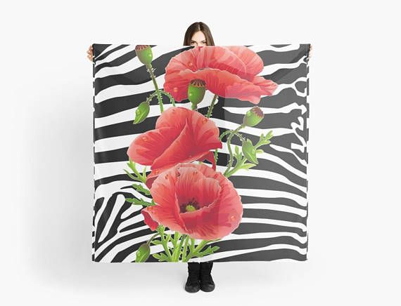 Zebra stripes Red Poppies scarf/wrap Foulard /carré 140