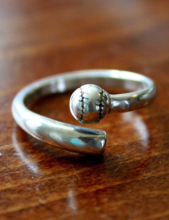 Softball Ring, Baseball Ring, Sterling Silver Ball and Bat Ring for Softball Player, Baseball Mom, Baseball Wife, Baseball Fan