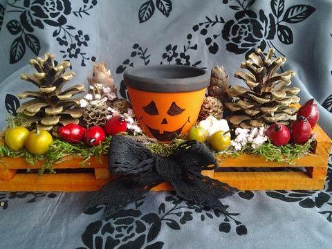 Halloween asztaldísz, Dekoráció, Otthon, lakberendezés, Dísz, Ünnepi dekoráció, Meska
