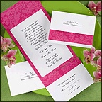 Invitations with tear-off reply card, ordered through Greetings in Oakland. $129.90 for 100.