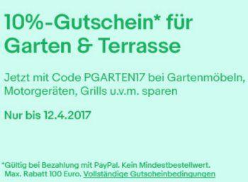 """Ebay: Zehn Prozent Rabatt auf Garten & Grillartikel für wenige Tage https://www.discountfan.de/artikel/technik_und_haushalt/ebay-zehn-prozent-rabatt-auf-garten-grillartikel-fuer-wenige-tage.php Bei Ebay lockt ab sofort und nur bis zum 12. April 2017 ein Sonder-Rabatt von zehn Prozent auf Artikel der Kategorie """"Garten & Terrasse"""". Mit dabei sind auch Motorgeräte und Grills. Ebay: Zehn Prozent Rabatt auf Garten & Grillartikel für wenige Tage (Bild: Ebay"""