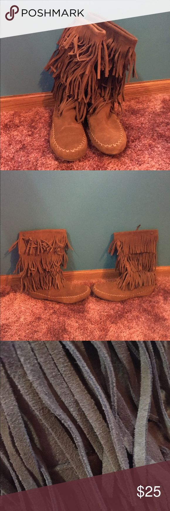 Indian Style Boots Great condition. Only worn a couple of times. No sign of wear. Suede material. Fringe detail. Shoes Over the Knee Boots