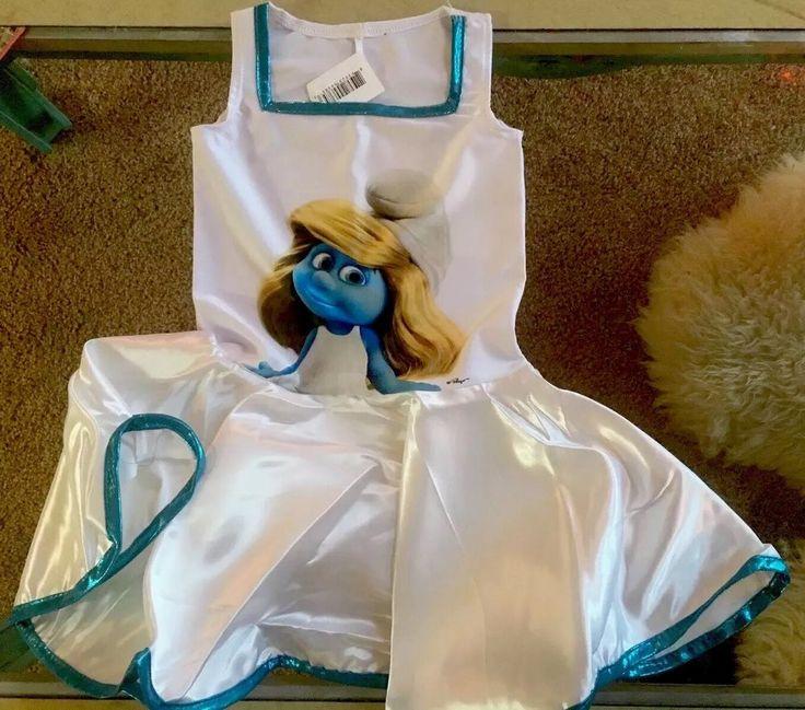 Smurfs Girl Sz S Smurfette Dress Stretch Satin  Blue and White Costume NEW  | eBay