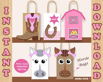 Girl Horse Favor Bags/ Horse Birthday Party Supplies/ Horse Themed Birthday/ Horse Riding Birthday/ Horse Party/ Horse Birthday Invitations
