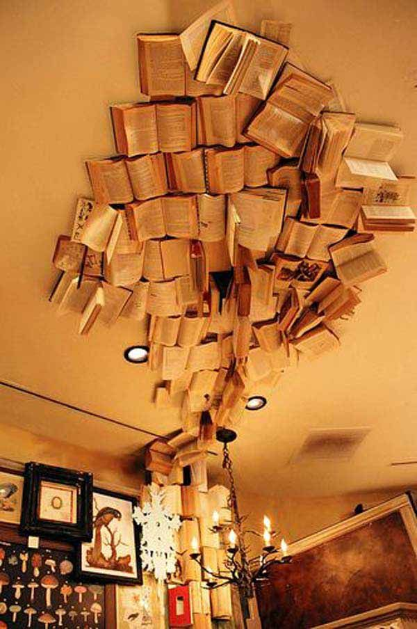 37 Fantastische Ideen Wie Sie Ihr Zuhause mit Büchern dekorieren können –