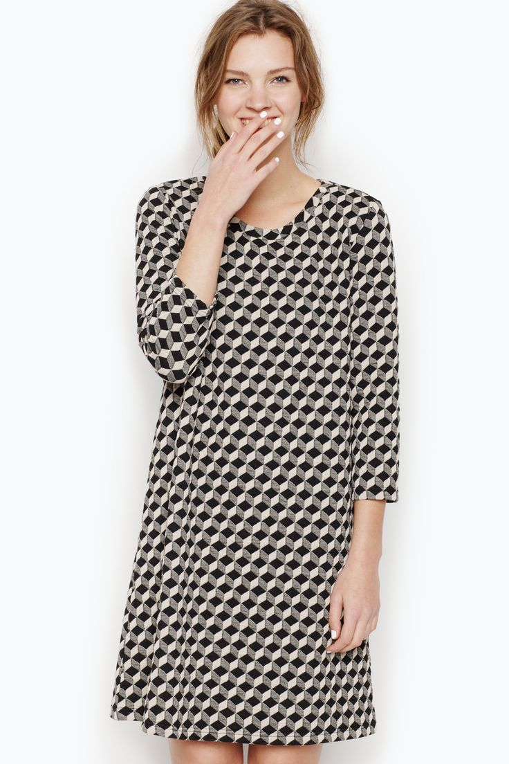 Oh the wonderment of jaquard…especially in when it is as fun for the eyes as it is soft on the skin! This loose fitting dress is a grand take on monochrome dressing - decorous ease for any occasion.