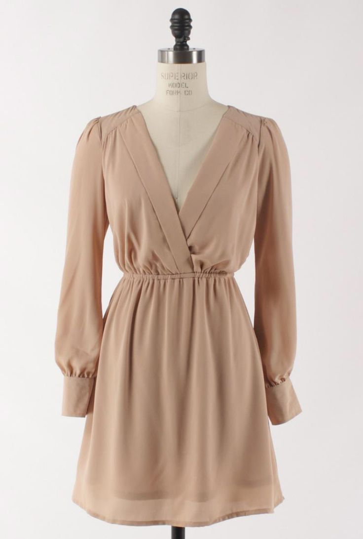 Dinner Date Long Sleeve Wrap Dress in Taupe | Sincerely Sweet Boutique. Pair with leggings.