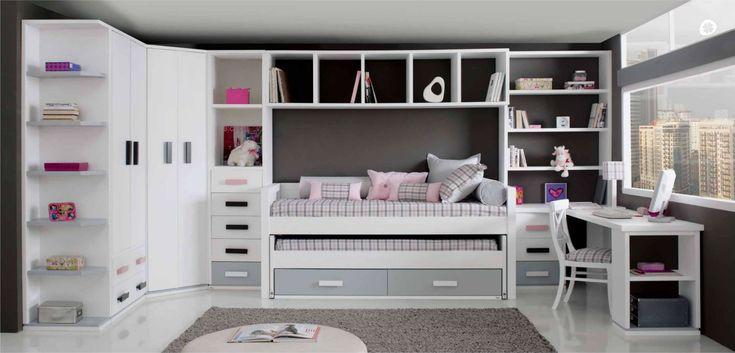 Dormitorio completo para niños. De Trébol. Escritorio y muebles tienen la posibilidad de hacerse a medida.