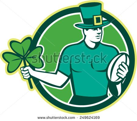 Illustration of an Irish rugby player wearing top hat running with the ball holding shamrock clover leaf set inside circle done in retro style. - stock vector #stpatricksday #retro #illustration