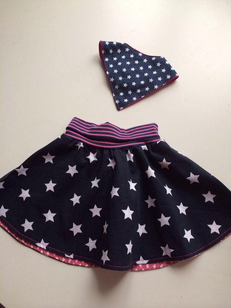Cirkelrok / circle skirt minikrea Slab sjaaltje / drible bib For Elena