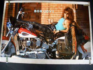 Bon Jovi Vintage Posters   RARE Jon Bon Jovi 1989 Vintage Harley Motorcycle Poster   eBay