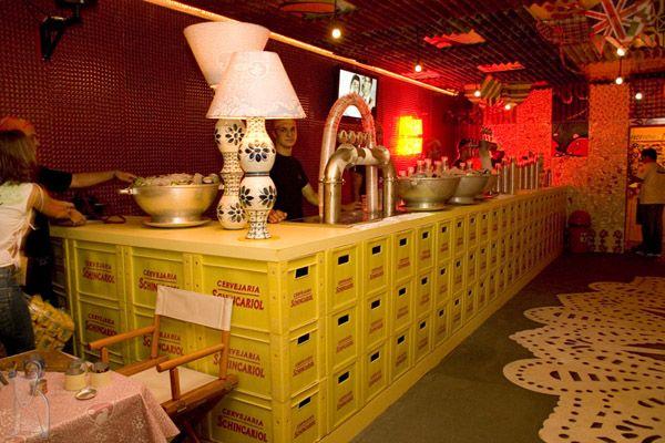 Bar feito de caixa de cerveja Festa Temática Buteco Pinterest Bar -> Decoração Simples Para Mesa De Restaurante