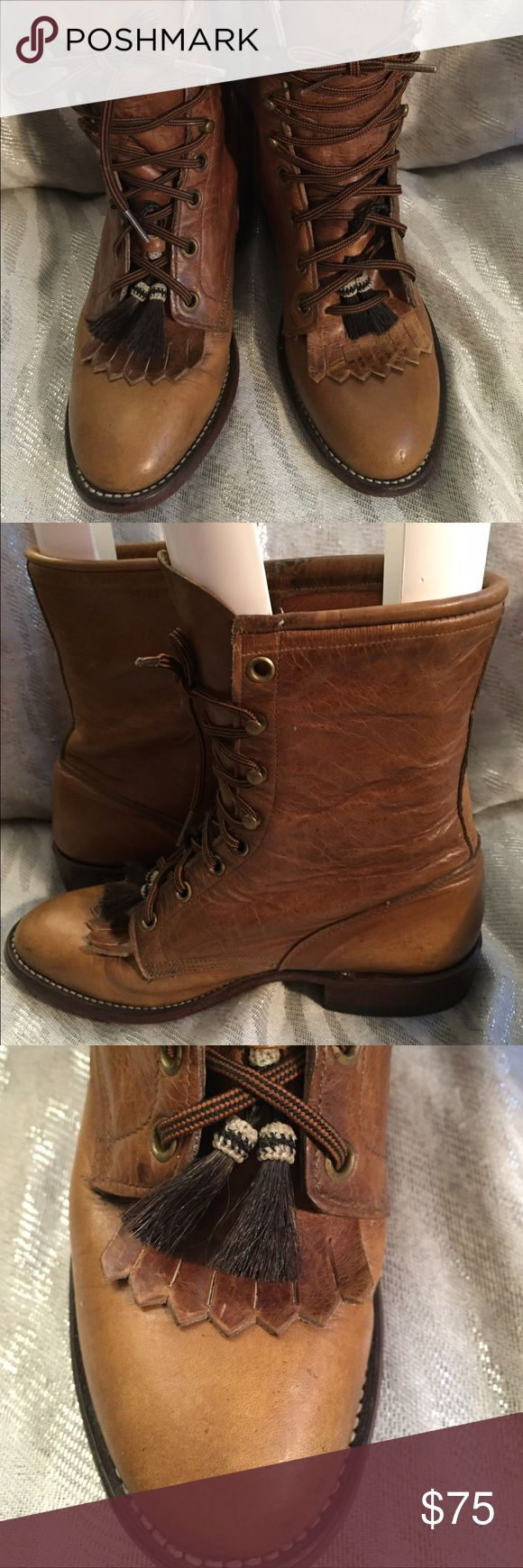 Larry Mahan Tan Leather Ankle Boots Size 6 M Larry Mahan Tan Leather Lace-Up Ankle Boots Western Front Tassel Leather Insole Leather Outsole Women's Size 6 Medium.  Very Good Preowned Condition! Larry Mahan Shoes Ankle Boots & Booties