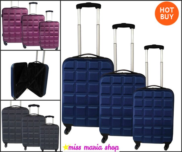 Lightweight Luggage Set Hard Suitcases Spinner 3 Pc Nest 4 Wheels Stylish Colour