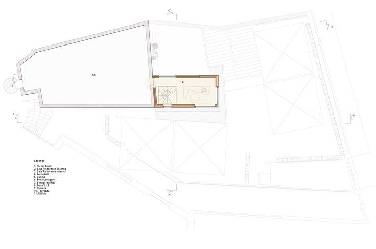Ristorante Macello: Progetto pianta del piano secondo con la Torretta – ufficio – in evidenza | Macello Restaurant: Floor plan of the second floor with the Tower - office highlighted