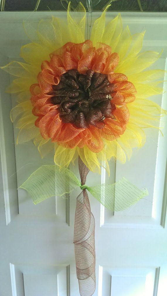Sunflower Deco Mesh Wreath Fall Door Hanging by reatadenise, $30.00