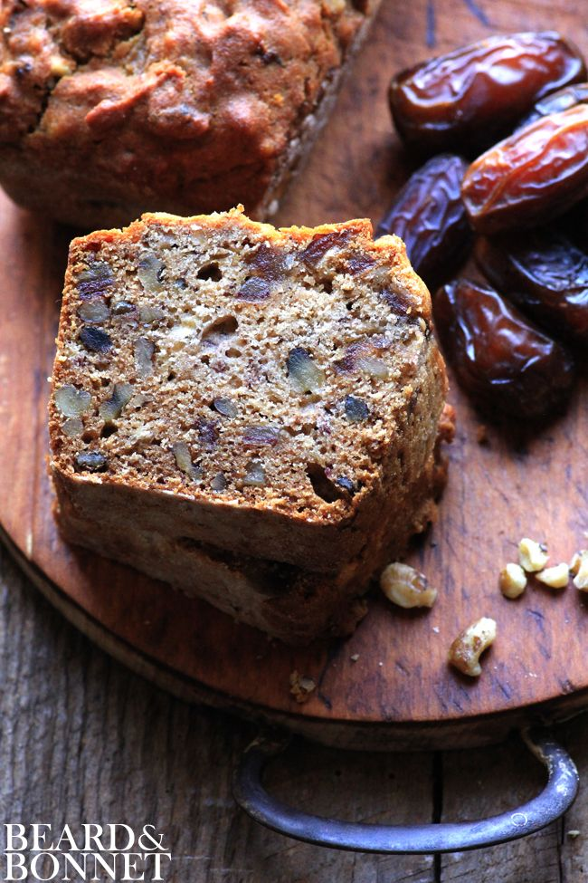 Banana Date Bread {Beard and Bonnet} #glutenfree #dairyfree loaded with bananas, dates, and walnuts this hearty bread is great for breakfast, snacks, or dessert! #SoSimpleSoGood