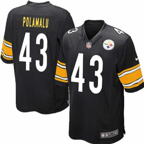 Youth Troy Polamalu Pittsburgh Steelers Black Jersey #43 Game Nike NFL Jersey Sale