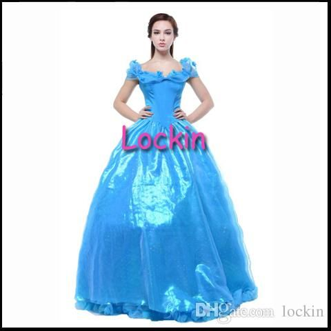 2015 Evening Gown Cinderella Princess Dress For Adult Women And Girls Cosplay Halloween Party Fantasia Sexy Blue Dress Theme Movie Costumes From Lockin, $59.9 | Dhgate.Com