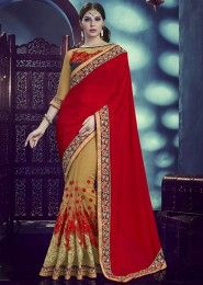 Designer Red And Beige Colored Chinnon And Net Saree