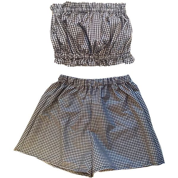 Gingham Co-ord Bustier Two Piece Twinset Womens Fashion Clothes Short... ($19) ❤ liked on Polyvore featuring dresses, sets, playsuit, shorts and high waisted two piece