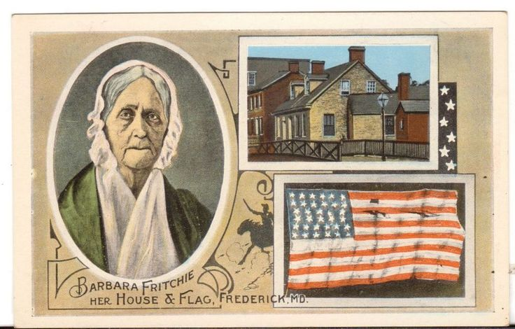 Undated Unused Postcard Barbara Friitchie House and Flag Frederick Maryland MD