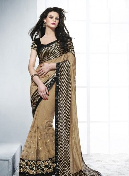 Beige & Black designer Party wear saree in art silk F15002