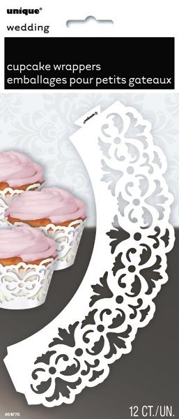 Lace Inspired Cupcake Wraps | Cupcake Wrappers | White Party Supplies