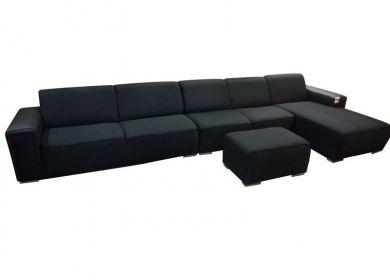 Mega loungebank Alabama zwart stof