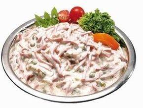 Pochoutkový salát chutná jako ten ještě z papíru  30 dkg dietního salámu,nebo šunkový. 10 dkg sterilované okurky 10 dkg cibule 1 konzerva hrášku 1 majolka 1 tatarka sůl,pepř Postup Salám pokrájet na tenké nudličky,okurky postrouhat ,cibuli nakrájet nadrobno.Vše smíchat,osolit,opepřit podle chuti.Z tohoto množství získáme 1 kg salátu.