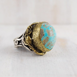 Bora Turquoise Tall Carved Oval Ring