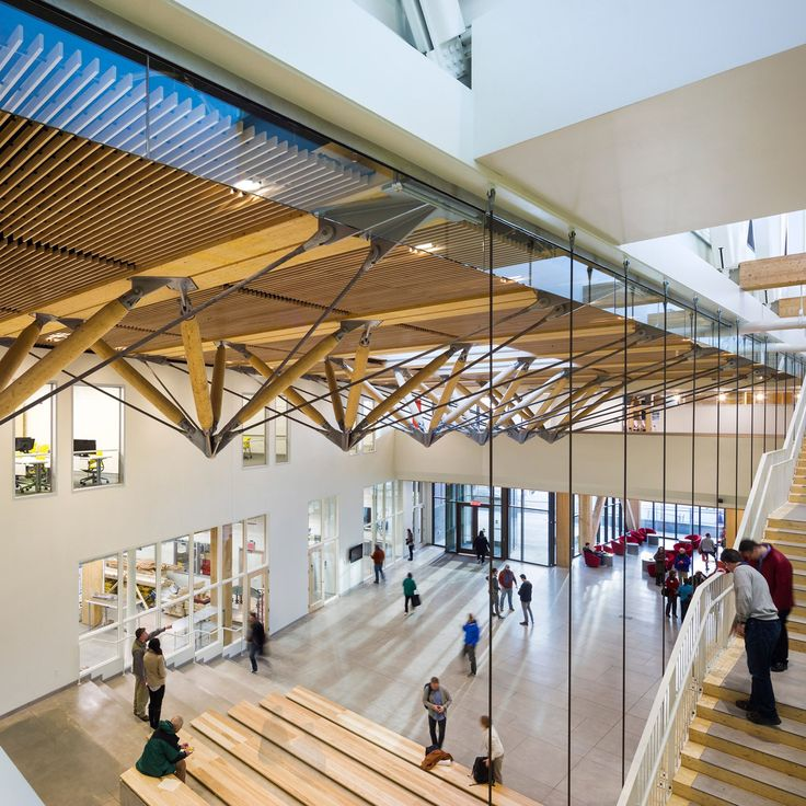 The University of Massachusetts Amherst's design school is the first academic building in the US to have a structural frame made of cross-laminated timber.