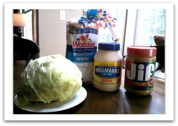 Sweet Little Bluebird: Peanut Butter, Mayonnaise and Lettuce Sandwich