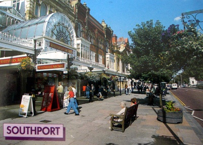 Southport, England. This is Lord Street where I did most of my shopping..............