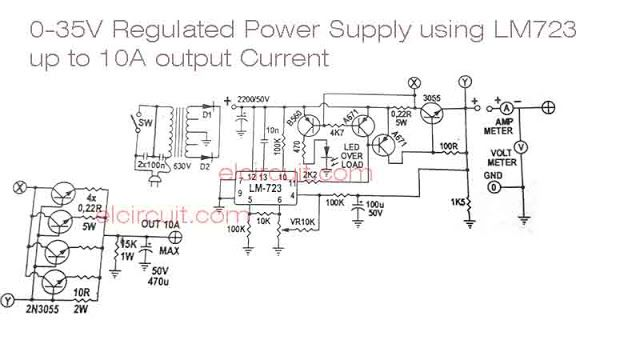 Lm723 Adjustable Power Supply Circuit With Over Current Protection