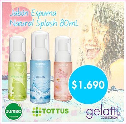 #Gelatti tiene novedades para tí. Porque siempre buscamos sorprenderte con #nuevos #productos. Descubre #JabónEspuma 80ml. #NaturalSplash a $1.690 en @JumboChile y @TottusChile