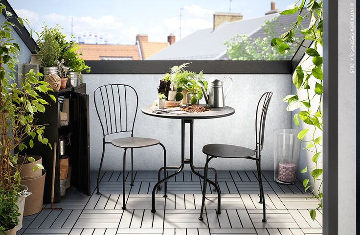 L ck table 2 chaises ext rieur gris tuin products for Chaise urban ikea
