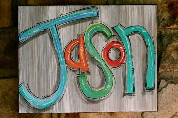 NAME canvas...like the gray background.  ORIGINAL PAINTING Acrylic on canvas by DAKRIsinclair, $32.00