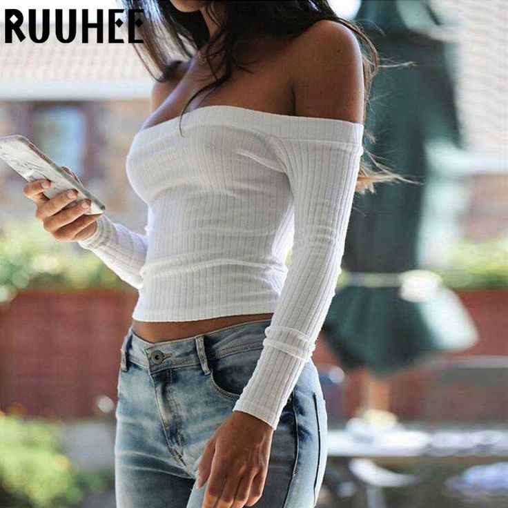 T Shirt Women's Sexy Hollow Out Bustier Slash Neck Female Casual Long Sleeve Crop Top Women Clothing Tops