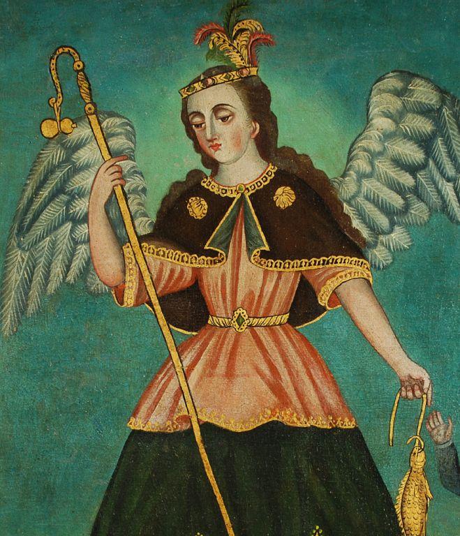Spanish Colonial Oil on Canvas - San Rafael Arcangel