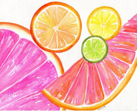 Citrus watercolor painting original, 8 x 10 Ruby Red Grapefruit, Lemon, Orange Lime Watercolor Painting, Citrus Artwork. Kitchen  Decor