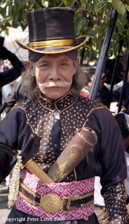 European Hat over Blangkon Headdress.  Keraton Yogyakarta's Soldier - Indonesia.