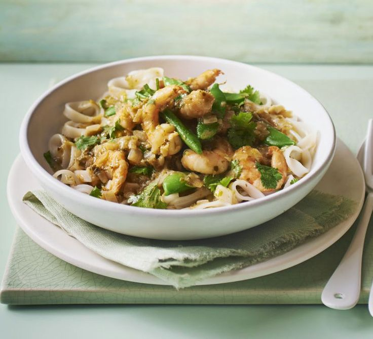 Whip up this Asian style prawn dish in just 15 minutes with coconut milk and sugar snap peas - serve over noodles or jasmine rice