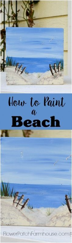 Learn How to Paint a Fun Beach Scene, easy enough for beginners and fun. Limited palette. Come paint with me! FlowerPatchFarmhouse.com