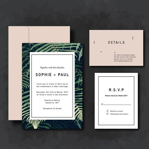Blush pink and leaves wedding invitation suite