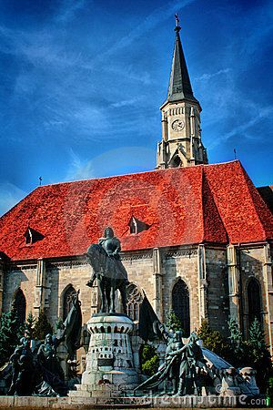 Statue of Matthias Corvinus in front of St. Michael's Church in Cluj-Napoca, Romania