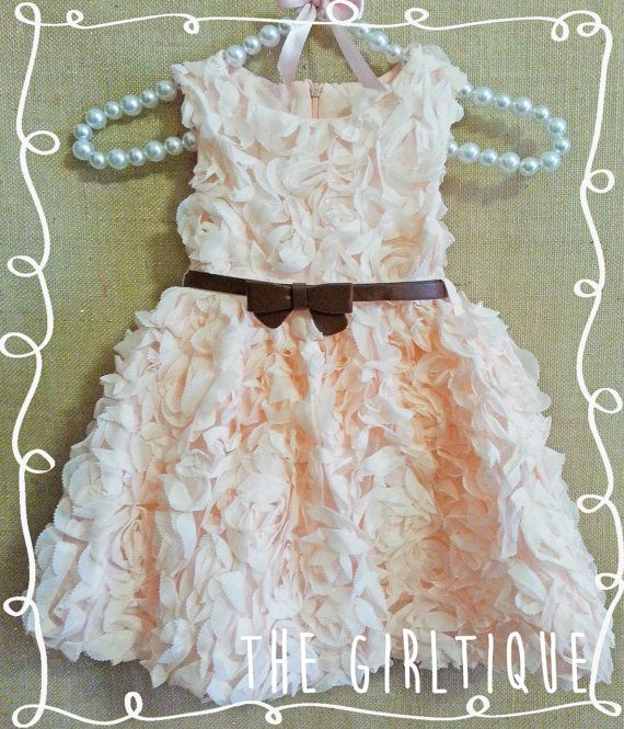 Peach Rosette Lace Baby Dress - Wedding - Summer Baby - First Birthday Baby Girl - Peach Dress - Outfit for Pictures - Party Dress by TheGirltique, $28.00