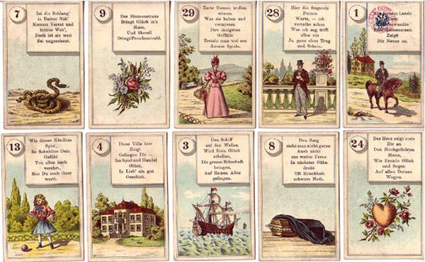 wunderschöne Lenormand Version mit Orakelsprüchen von Ferd Piatnik & Söhne, Wien und Budapest Alter: vermutlich Ende des 19. , Anfang des 20. Jahrhunderts gedruckt