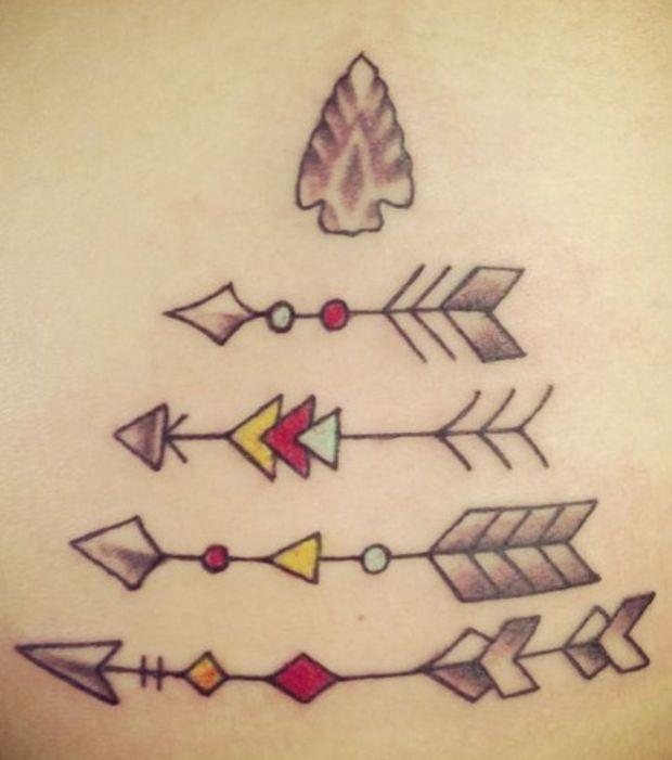 Tatouage : 4 flèches indiennes (avec des détails jaunes et rouges) sur les côtes